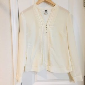 Anne Klein Cream Long Sleeve V Neck Pleated Blouse